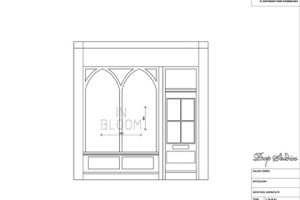 "Initial sketch of the front entrance way to the Miller Harris store, with dimensions for Prop Studios' neon ""In Bloom"" signage"