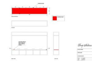 Plans and outlines showing how the Prop Studios' Miller Harris In Bloom instore design would be installed