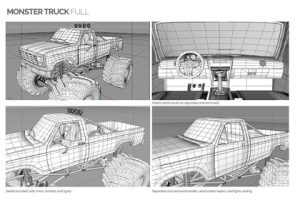 Prop Studios' ull 3D digital rendering of the Missguided Monster Truck