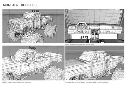 Prop Studios' ull 3D digital rendering of the Missguided Monster Truck