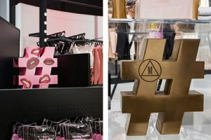 Prop Studios created bespoke oversized hashtags, displayed throughout the Missguided store