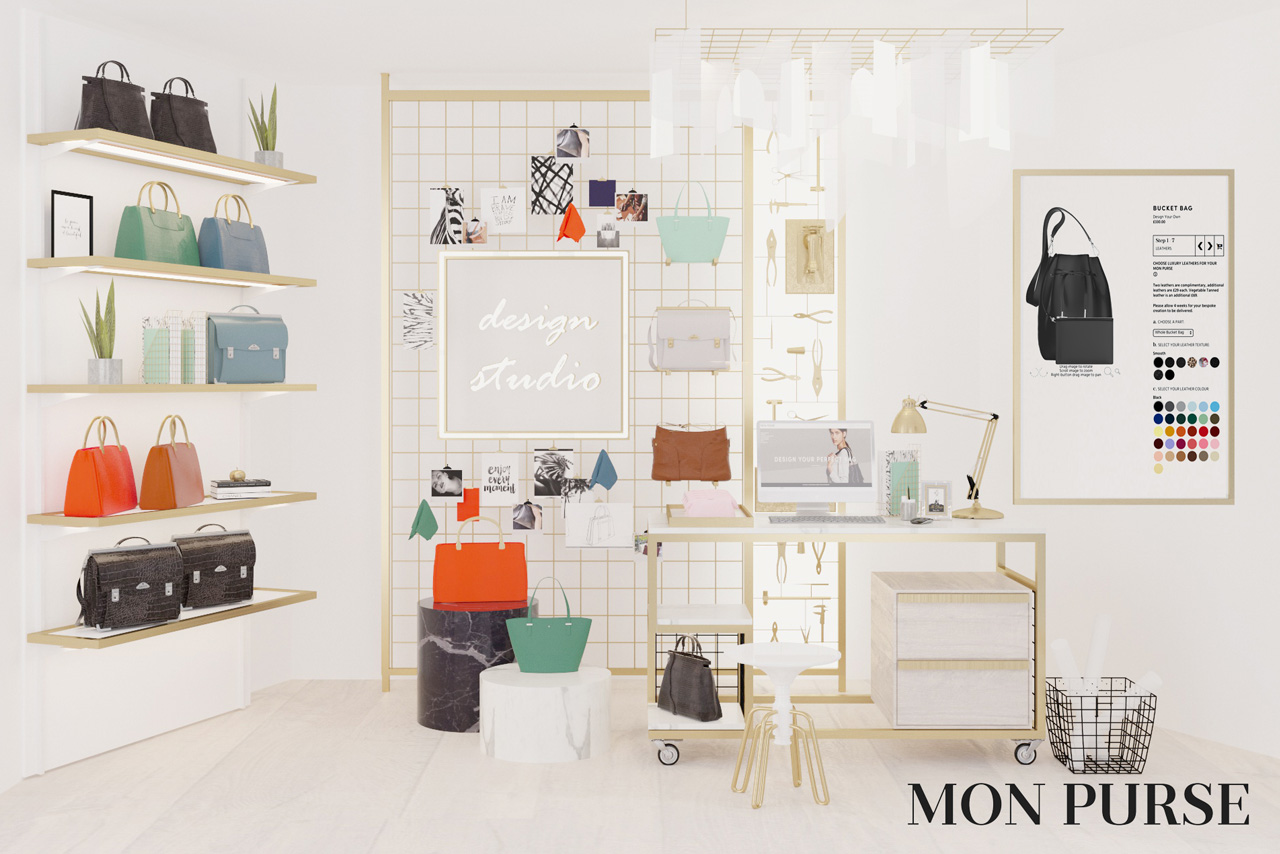 Full interior image of Prop Studios' retail design project for Mon Purse
