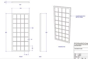 Prop Studios' initial blueprint for the metal frame displayed as part of the Mon Purse instore design