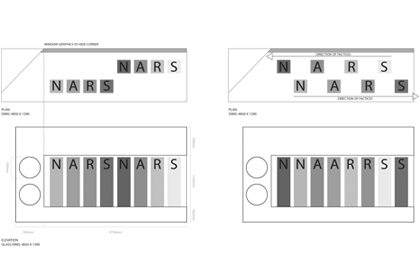 Prop Studios' initial technical design sketch for NARS window display