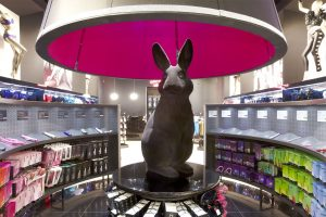 Interior shot of the Ann Summers store, showing Prop Studios' rabbit sculpture in all its glory