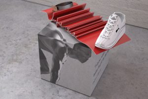 The Prop Studios team created installations of hand sketches in 3D form for this unique Puma retail design concept