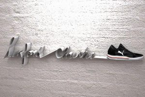 We used the sculpted wire design to inform the choices of font for this retail display for Puma trainers