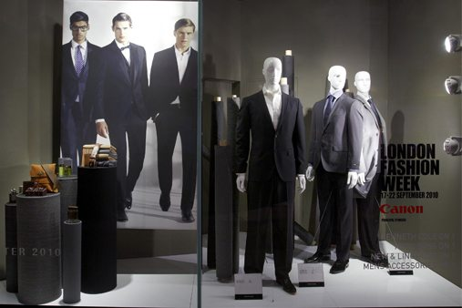 Another part of the House Of Fraser window scheme, showing the menswear range