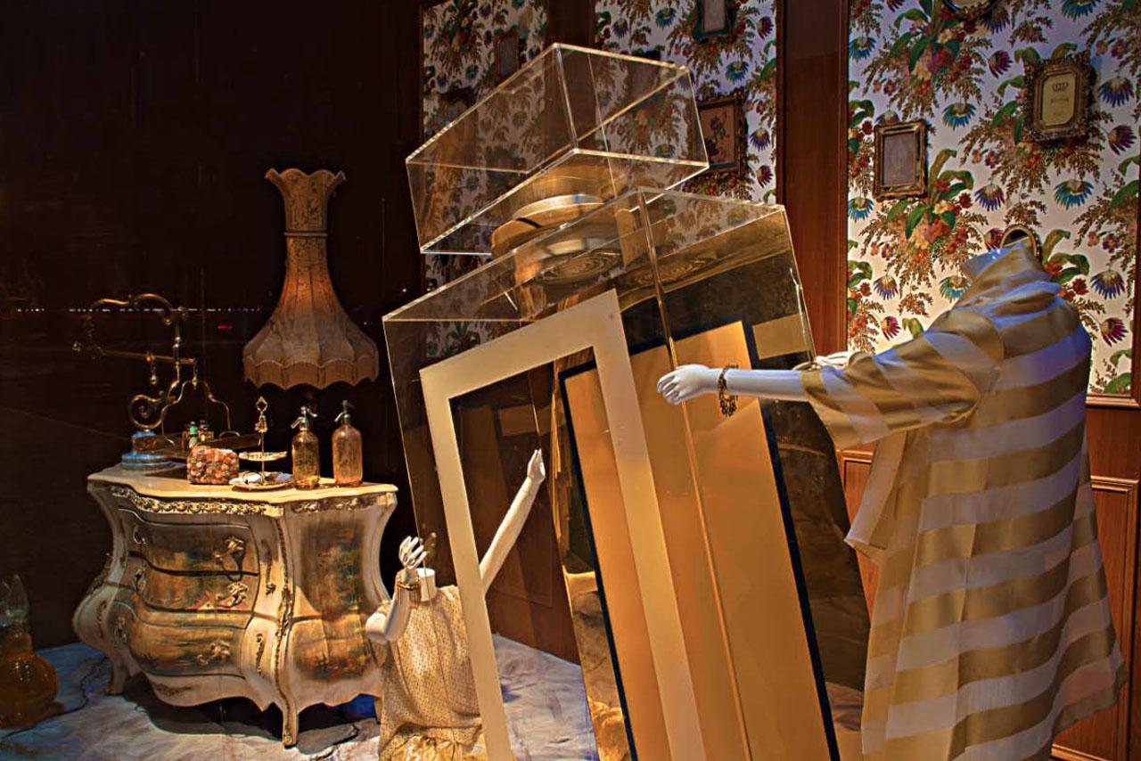 Image of Prop Studios' full window design for Al Rubaiyat, featuring a giant bespoke perfume bottle