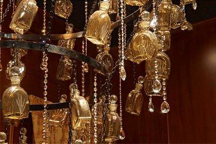 Close-up of Prop Studios' bespoke chandelier, designed exclusively for the windows of Al Rubaiyat