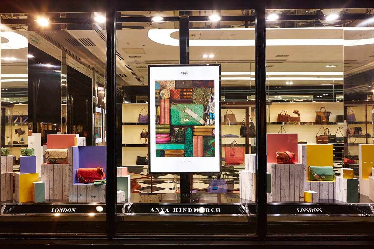 Exterior shot of the Anya Hindmarch window scheme, designed exclusively by Prop Studios