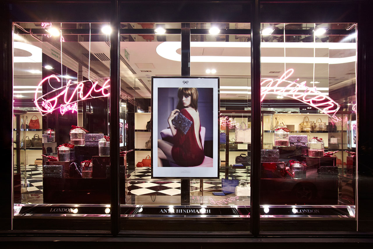 Exterior view of the Anya Hindmarch store, showing the Give Glitter window display