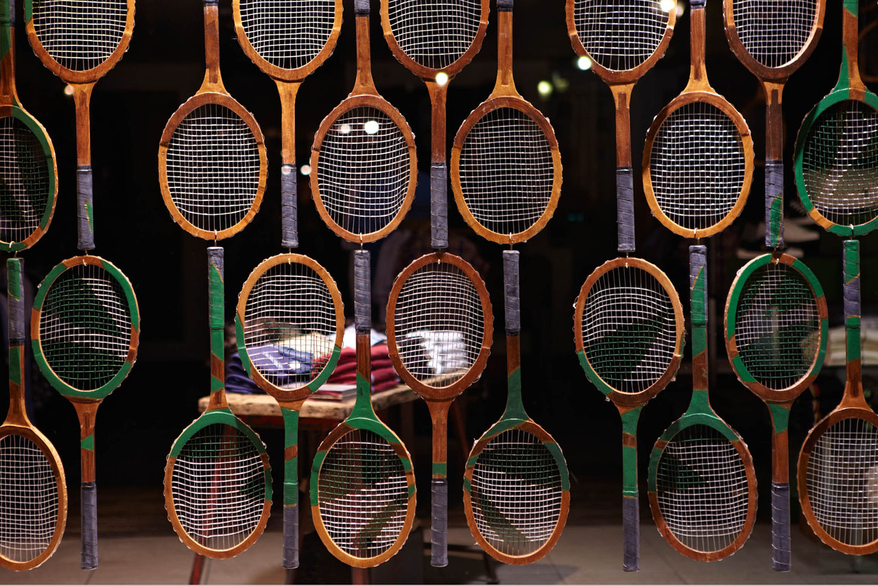 Close-up of the Prop Studios window display for Fred Perry, with over 800 custom-painted racquets