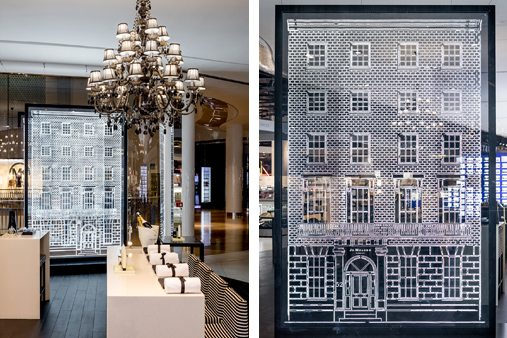 Image of the Jo Malone townhouse window and the interior of the store