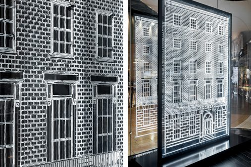 Front view of the reflected Jo Malone townhouse windows at Selfridges