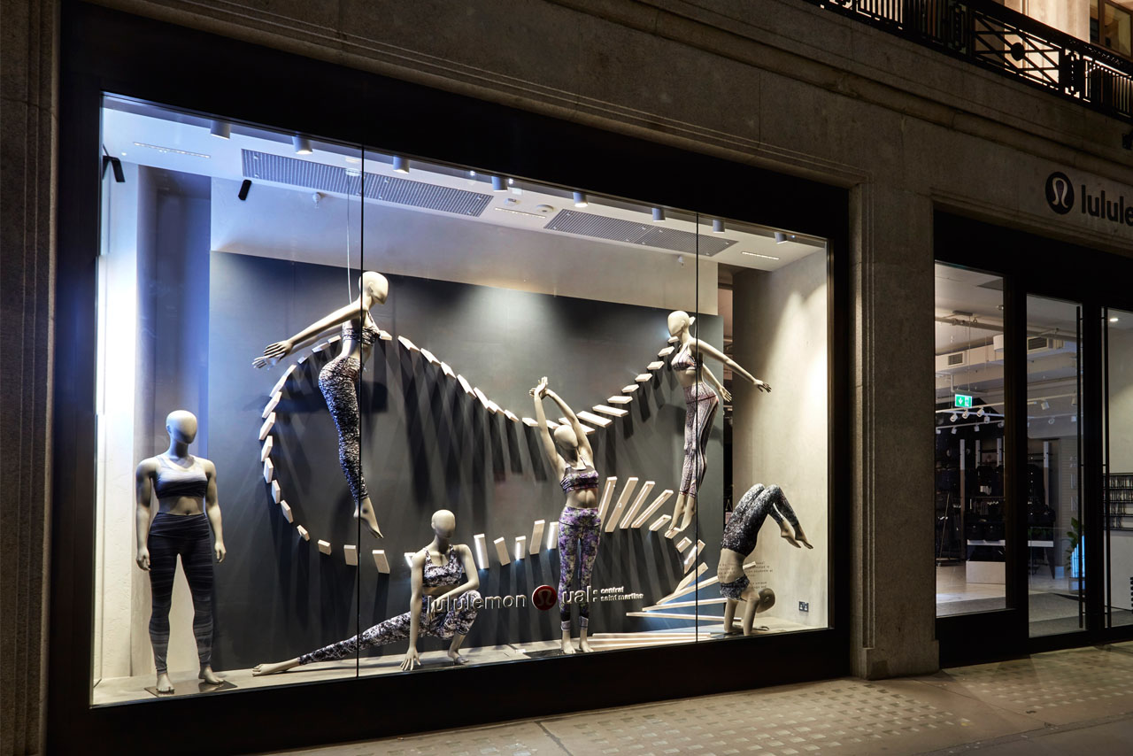 Alternative view of the Lululemon window display as seen from Regents Street