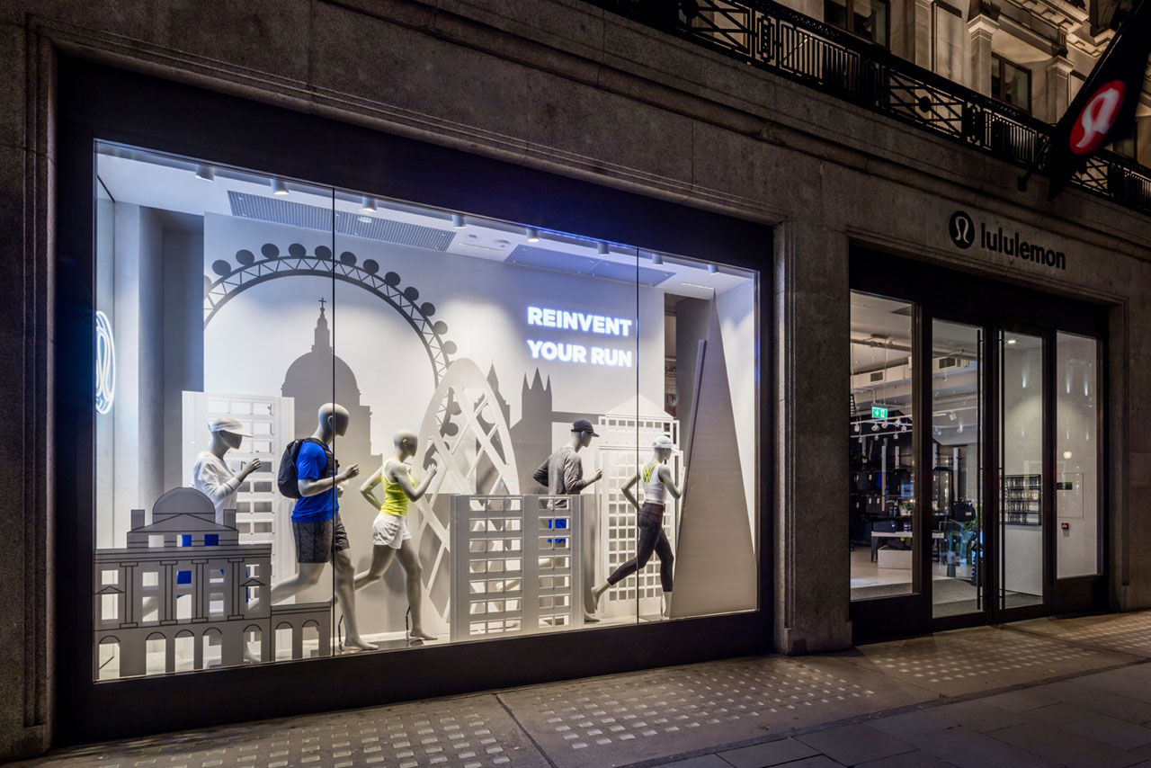 Exterior photograph of Prop Studios' Lululemon window display for the London Marathon