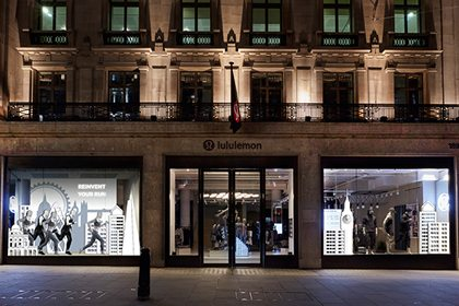 External photograph of the Lululemon store on Regent Street, with the window display fully visible