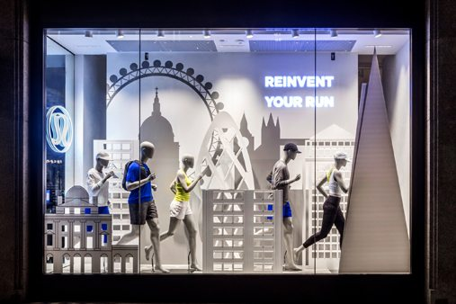 Photograph of one of the Lululemon windows designed by Prop Studios, featuring London landmarks