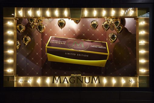 One of the four window displays designed by Prop Studios for Magnum at Selfridges