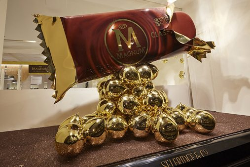 The second window design for Magnum at Selfridges by Prop Studios, showcasing an unwrapped Magnum