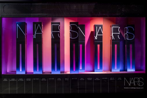 Front shot of Prop Studios' window display for NARS at Selfridges.