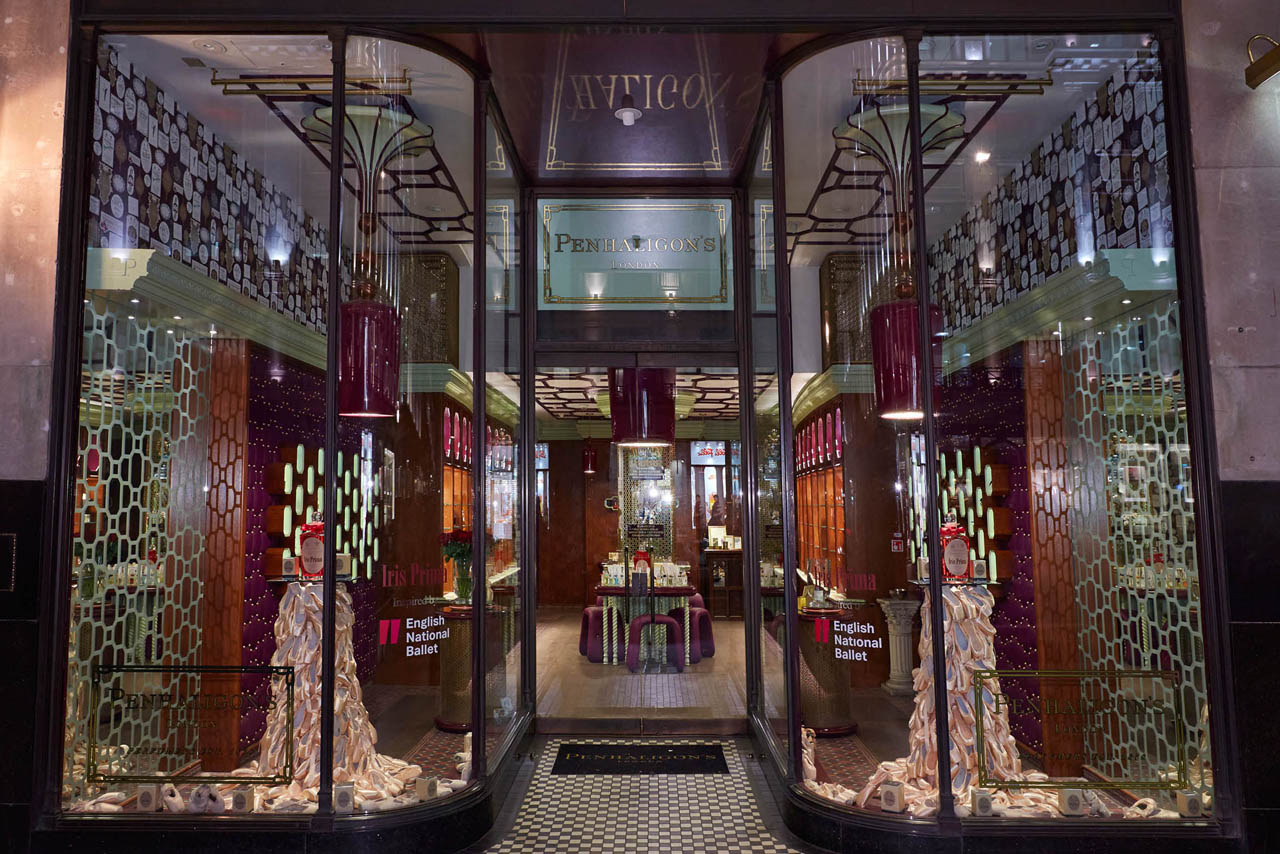 Exterior shot showing the full view of the Penhaligon's store, including Prop Studios' window scheme