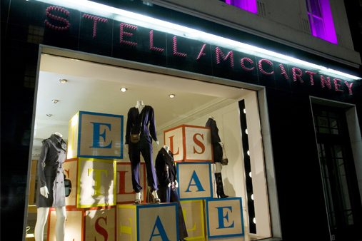Exterior photograph of Prop Studios' sale window scheme for Stella McCartney, using ten sustainably-constructed building blocks