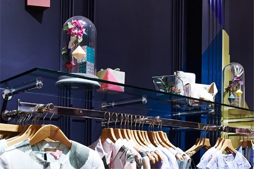 Ted Baker are known for their distinct humour and creative attention to detail in each store, and Prop Studios endeavoured to meet this challenge with this quirky visual merchandising scheme