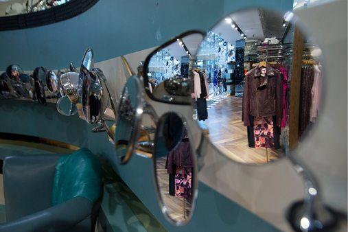Close-up of mirror displays in Ted Baker window display
