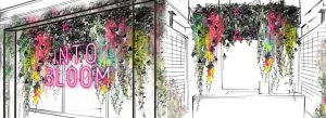 Prop Studios' in-house design team created a window display and interior visual merchandising of cascading neon florals and mirrored geometric shapes