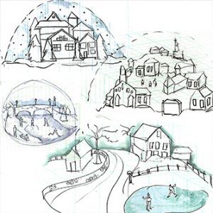Prop Studios' initial design sketches of snowglobes created exclusively for Harrods