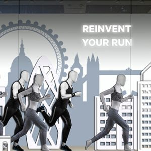 Featuring a layered London skyline as the backdrop to the London Marathon, Lululemon displayed its affinity to the iconic annual event