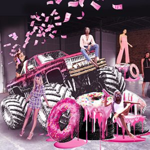 Close-up image of the Prop Studios-designed Missguided monster truck, designed and installed at the fashion brand's flagship Westfield store