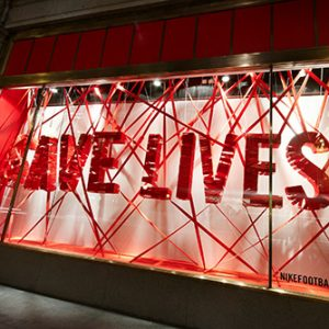 Close-up image of the window of the Nike store on Oxford Street, designed exclusively by Prop Studios