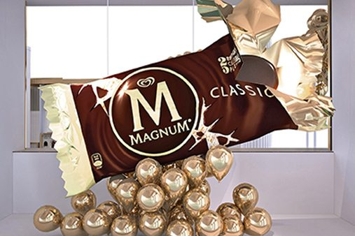 Prop Studios' heat-moulded giant Magnum wrapper, created for Selfridges' Wonder Room