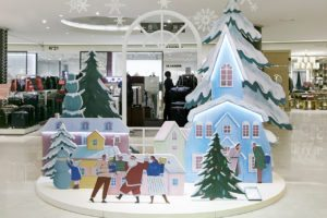 "Full image showing Prop Studios' ""togetherness"" themed Christmas visual merchandising scheme, created and designed exclusively for Hyundai"
