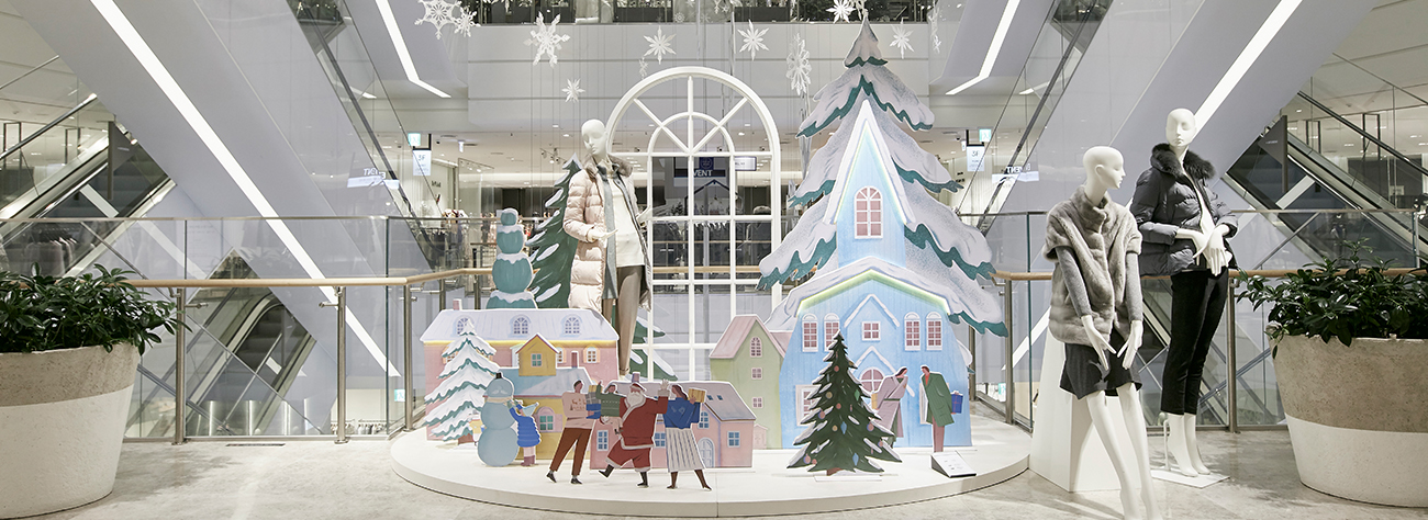 Full view of Prop Studios' festive visual merchandising scheme for the Hyundai Department Store