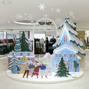 "Image of the ""togetherness"" themed Christmas visual merchandising scheme, created exclusively for the Hyundai department store by Prop Studios"