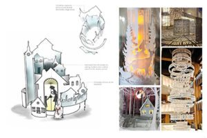 "Prop Studios' original sketches for Hyundai's festive visual merchandising display, based on the theme of ""togetherness"""